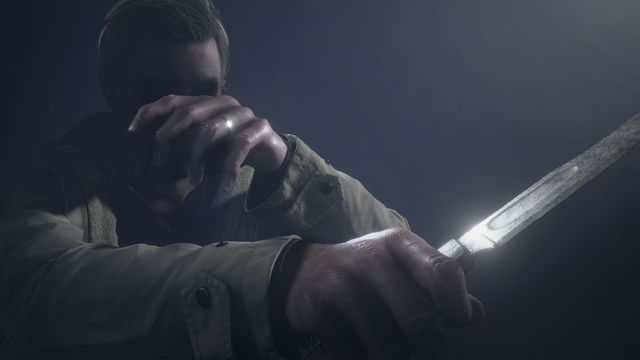 Artwork of Ethan Winters holding a knife from Resident Evil Village