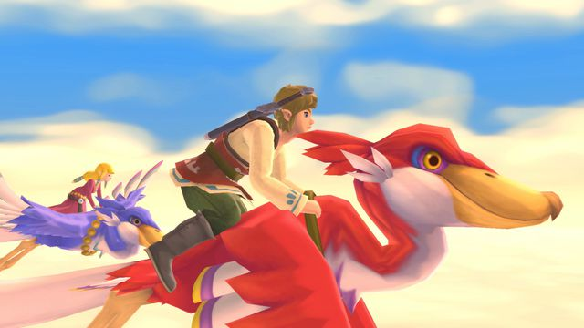 Link rides Loftwing in a screenshot from The Legend of Zelda: Skyward Sword HD