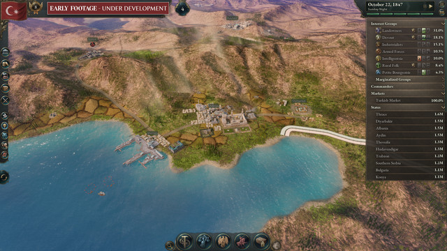 """screen showing an overhead map, in-game view of Victoria 3, marked """"work in progress"""""""