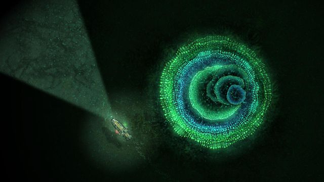 Sunless Sea - a ship sails past a scary whirlpool in the dark