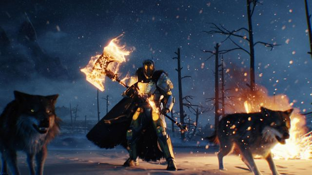 Destiny: Rise of Iron - Lord Saladin with his giant weapons and wolves