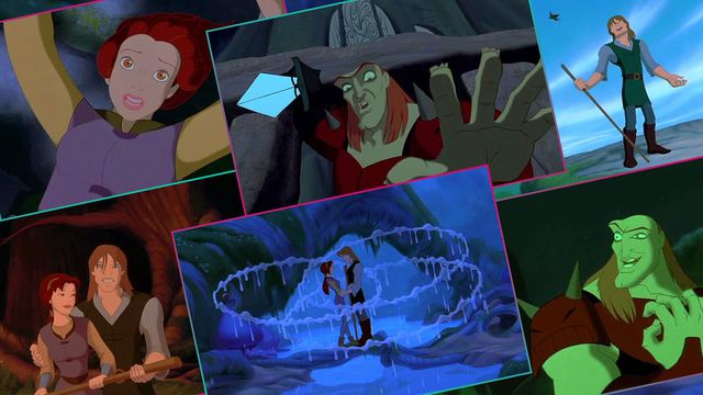Grid featuring six screens from The Quest for Camelot animated movie