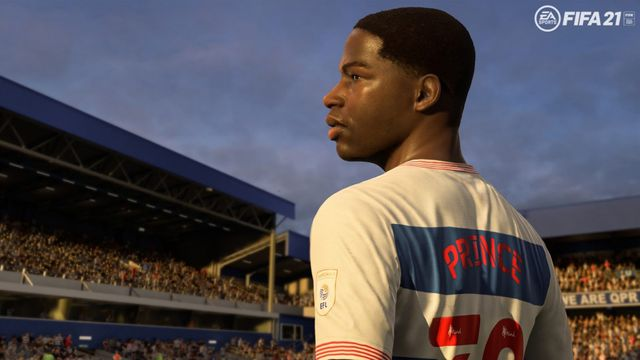 Kiyan Prince looking off into the distance at a soccer
