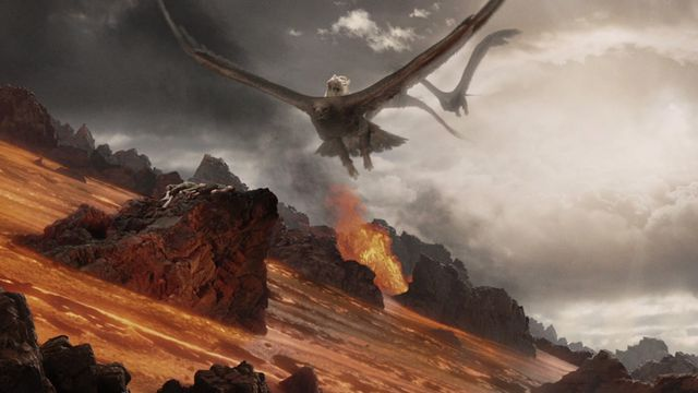 Three giant eagles arrive in Mordor to carry Frodo and Sam to safety in The Return of the King.