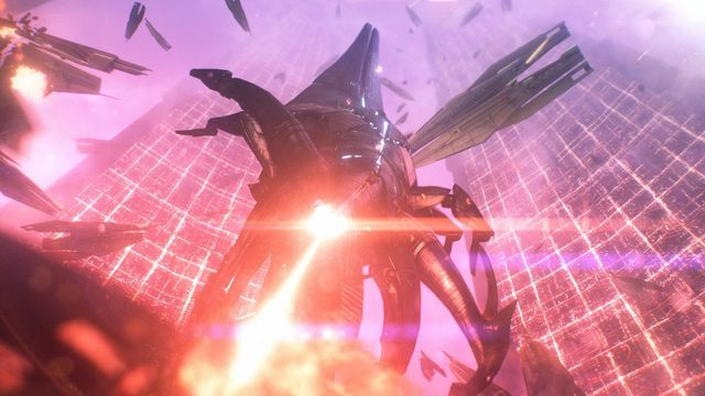 Mass Effect - a Reaper descends from above, shooting a massive space laser