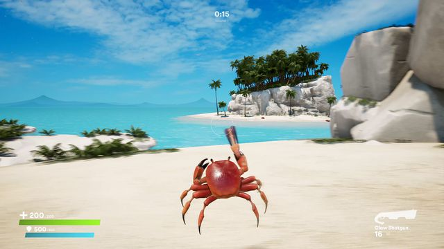 Crab Champions - a crab with a gun moves on a beach in a competitive game