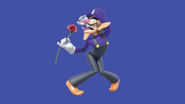 Waluigi is deliciously posed with his knees together, feet apart. he carries a rose which his tongue almost touches. it's completely ridiculous.