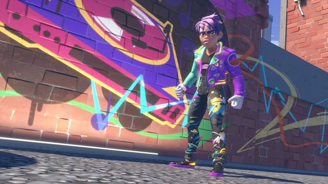 colorful futuristic teenager in greaser-style clothing against a wall covered in graffiti in Knockout City