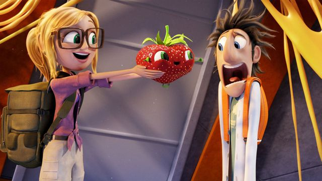 Sam hands Flint an anthropomorphic giant strawberry and he freaks the hell out in Cloudy With a Chance of Meatballs