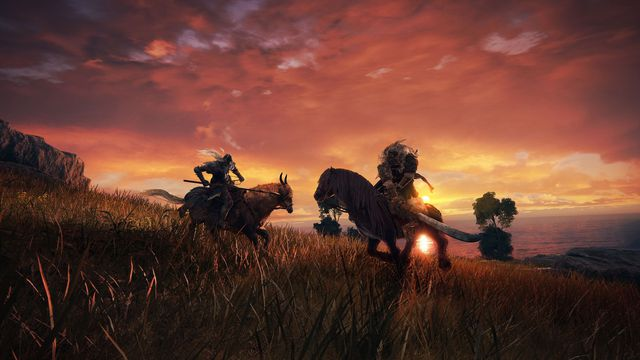 Two characters on horses face off at sunset in a screenshot from Elden Ring