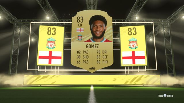 Screen showing the FIFA shield, rating, attributes, and portrait for Joe Gomez in the game's Ultimate Team mode