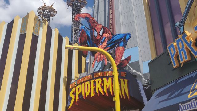 the entrance for Universal Studios' Spider-Man ride
