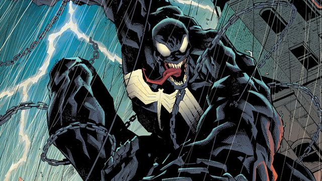 Venom/Dylan Brock swings through a rainy urban night, with his father Eddie watching from a rooftop in Venom #200 (2021).