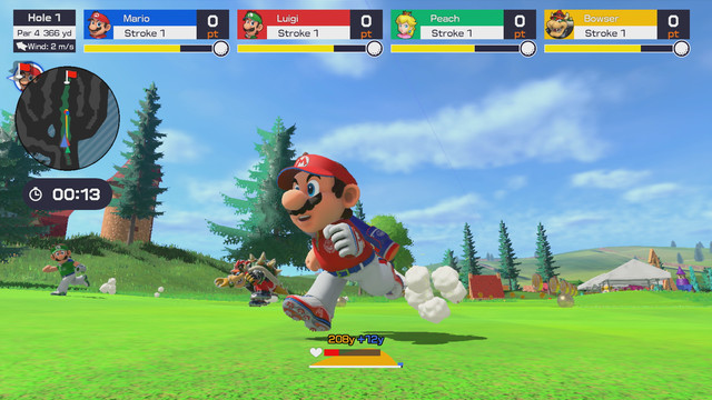 Mario running his little butt off on the greens in Mario Golf: Super rush
