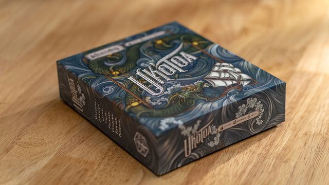 The box art for Uk'Otoa features an intricate seascape, the monster, and a sailing ship caught in its grasp.