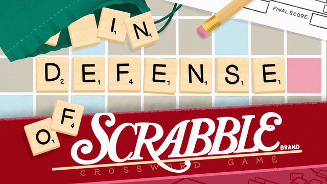 """Illustration of Scrabble board with """"In defense of..."""" spelt out in letters"""