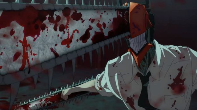 Chainsaw man in a white shirt soaked with blood in the anime