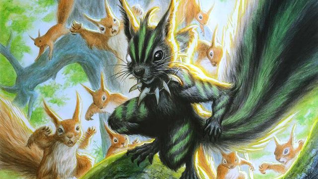 A squirrel in war paint leads a horde of his kin into battle... I guess.
