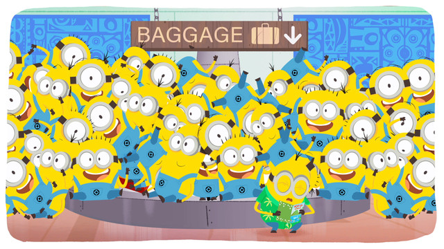 a gaggle of minions, a plethora, if you will, all gathered around a baggage carousel