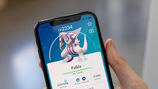 A photo of Palkia from Pokémon Go on an iPhone