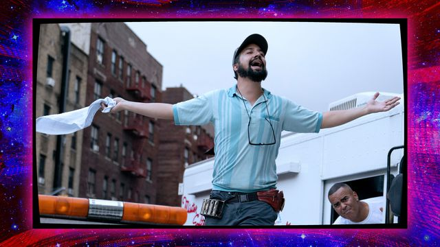 """Photo of Lin-Manuel Miranda from """"In the Heights"""" with a glitchy purple border"""