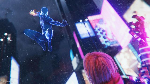 Miles Morales leaps down while in stealth mode in Spider-Man: Miles Morales