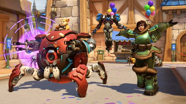 Wrecking Ball, Sigma, and Mei emote on BlizzardWorld from Overwatch