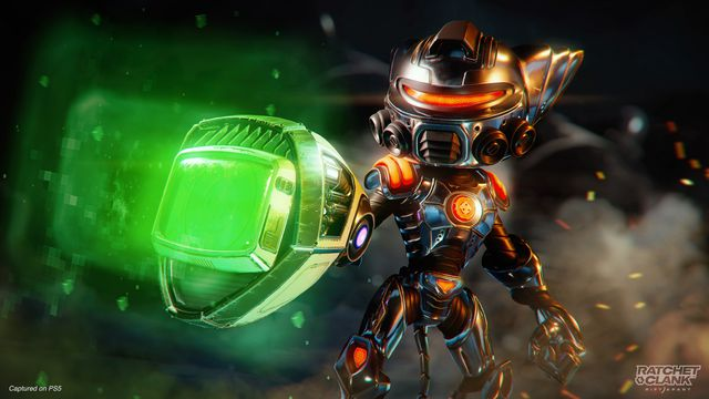 Ratchet in his Carbonox armor holding the Pixelizer in Ratchet & Clank: Rift Apart