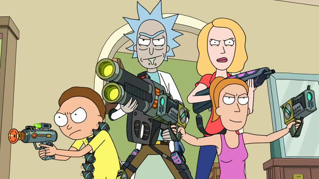 Rick and Morty - Rick, Morty, Summer, and Beth all pose in the Smith's kitchen holding green sci-fi weaponry. They look prepared for an immediate fight.