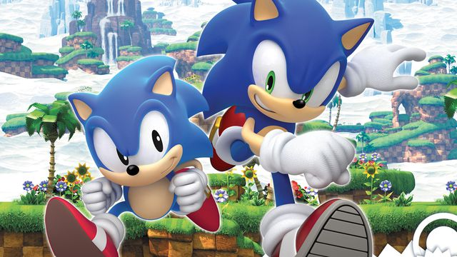 Cover art for Sonic Generations featuring new and classic Sonic the Hedgehogs
