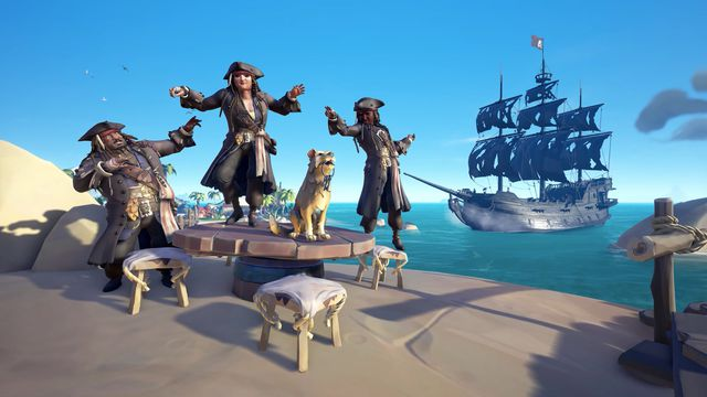 A trio of pirates wear Jack Sparrow gear in Sea of Thieves