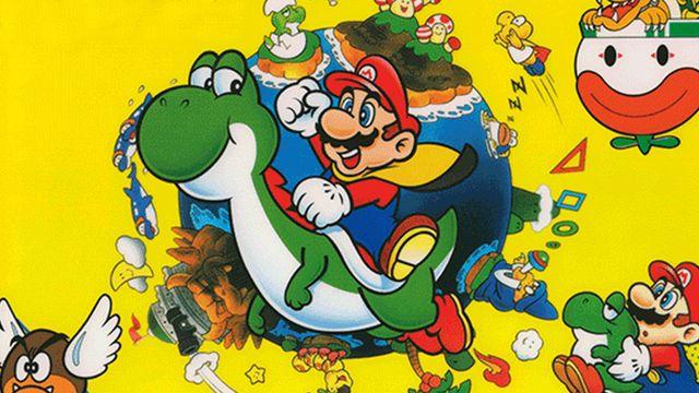 Super Mario World artwork featuring Mario riding Yoshi