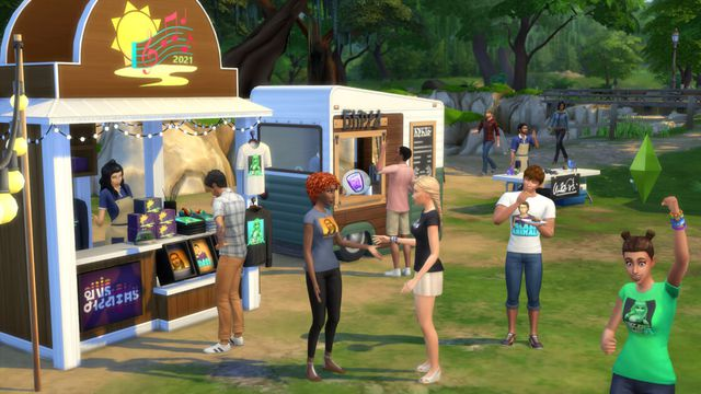 The Sims 4 - a group of Sims gather at a music festival to party and listen to music.