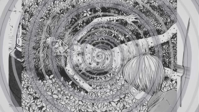 A spiral pattern floats above a corpse in Uzumaki, based on the Junji Ito manga.