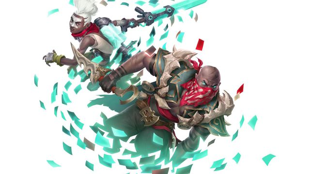 Legends of Runeterra - promotional art showing Ekko and Pyke from League of Legends attacking through a flurry of cards