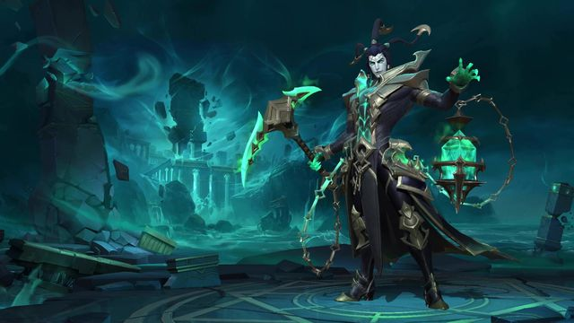 League of Legends: Wild Rift - Thresh, a ghostly man with hooks for hair and a lantern, stands in the middle of a desolate place known as the Shadow Isles.