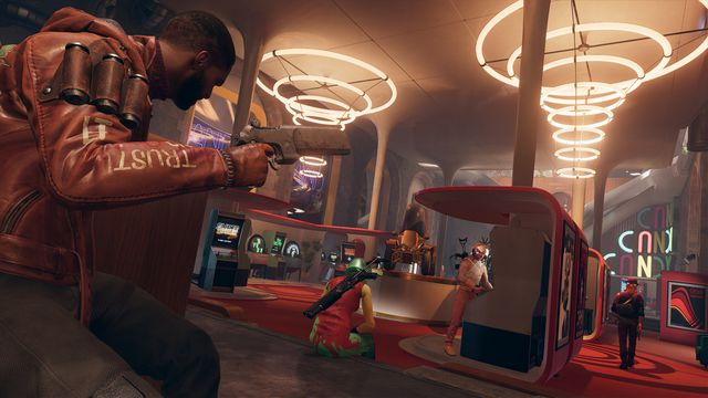 Colt approaches an arcade filled with enemies in Deathloop