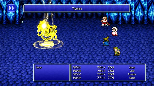 a screenshot of a battle from a remaster of the first final fantasy