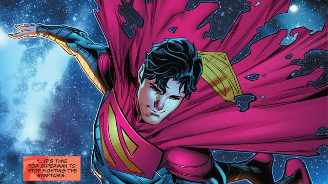 With a tattered cape, Jon Kent/Superman floats in space in Superman: Son of Kal-El #1 (2021)).