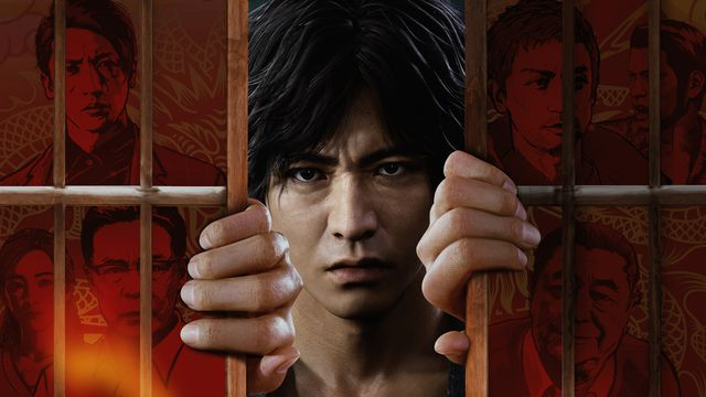 Lost Judgment: Key art showing the game's protagonist, framed by paintings of the game's supporting cast