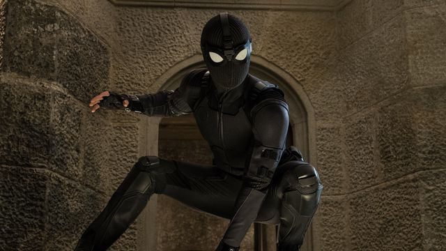 Spider-Man wears his stealth suit in Spider-Man: Far From Home