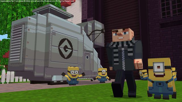 voxel versions of minions standing next to Gru in Minecraft