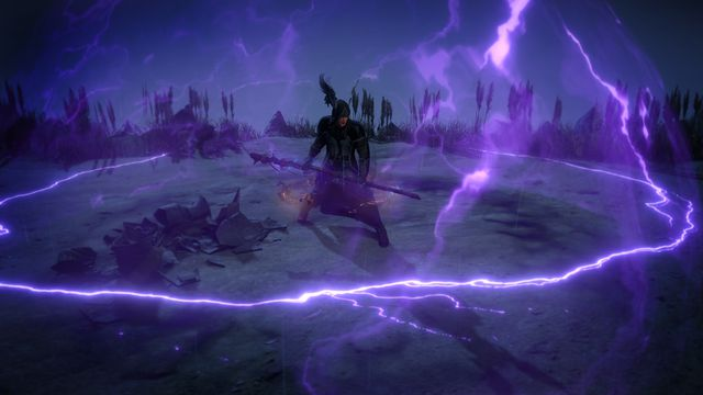 A character in Path of Exile uses a powerful tempest ability