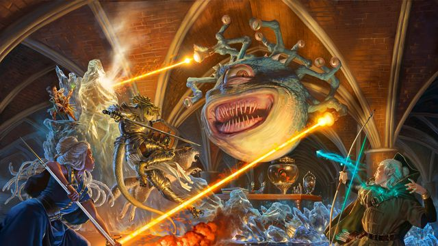 A colorful battle with a beholder letting loose with his eyestalks.