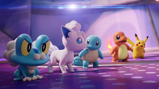 Froakie, Vulpix, Squirtle, Charmander, and Pikachu in a still from a Pokémon Unite cinematic