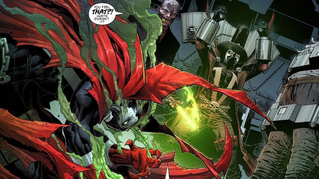 Spawn doubles over in pain as his foe taunts him. Also in the room: Gunslinger and Sinn, in Spawn's Universe #1 (2021).