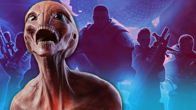 A grey alien Sectoid from the XCOM game franchise makes a screaming face while silhouettes of XCOM soldiers stand behind.