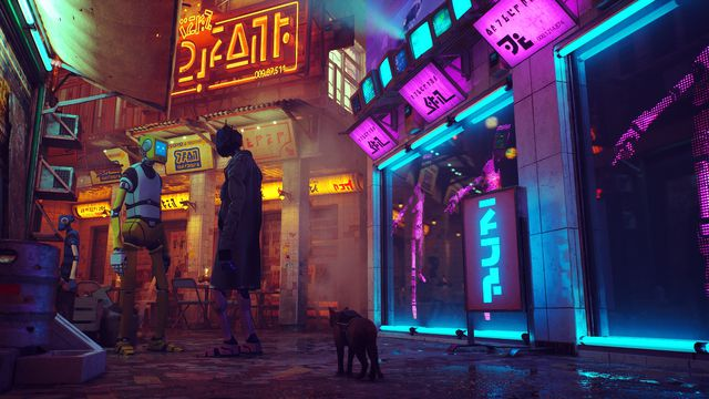 The cat emerges from the alley into a neon-lit street. Two robots wearing clothes converse.