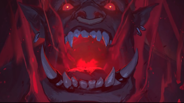 World of Warcraft - A shot of Garrosh Hellscream from Afterlives: Revendreth. He's being tortured and his eyes and mouth exude red energy