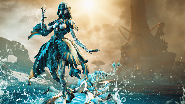 Warframe - the Yareli Warframe, a mech with flowing blue accessories and delicate features, poses outside the Venus settlement of Fortuna.